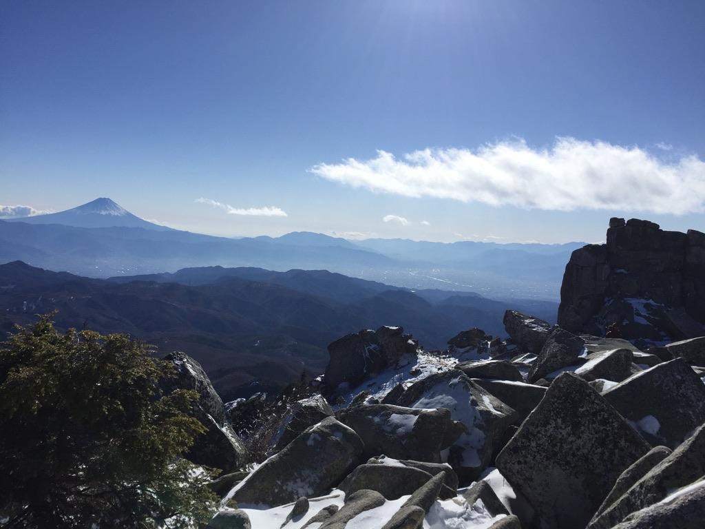 金峰山・金峰山山頂から見る富士山