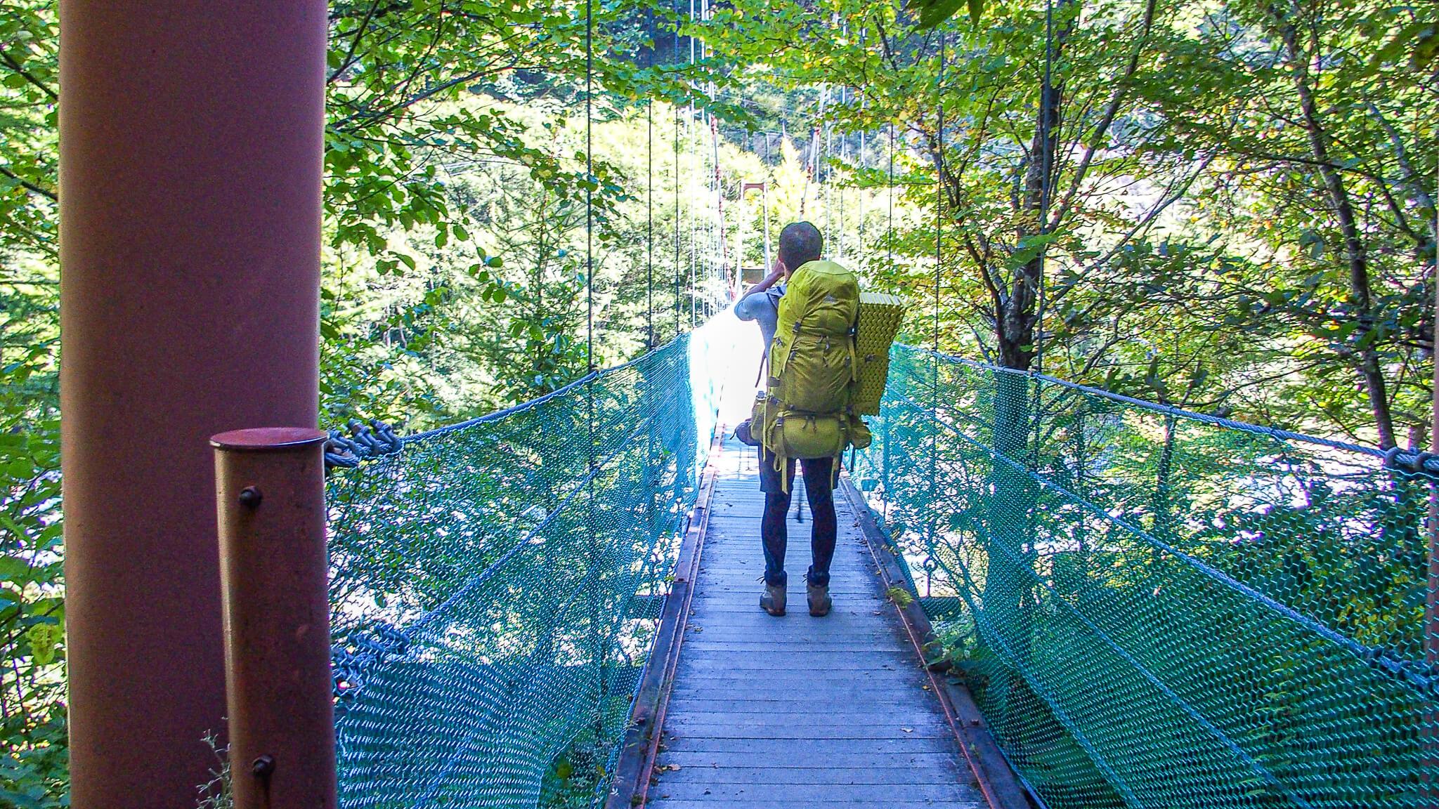 北岳・再びの吊り橋