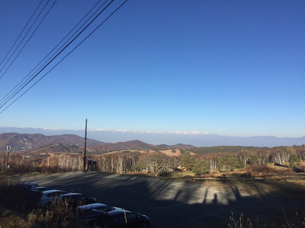 四阿山・菅平牧場駐車場から見る北アルプス