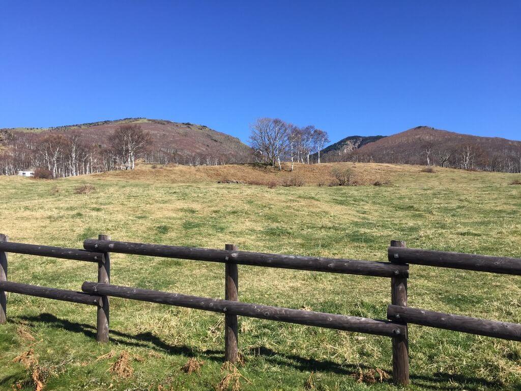 四阿山・菅平牧場から見る根子岳・四阿山