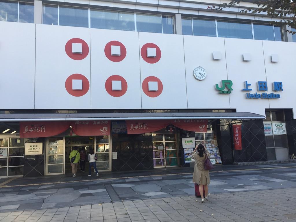 上田駅と真田家の家紋