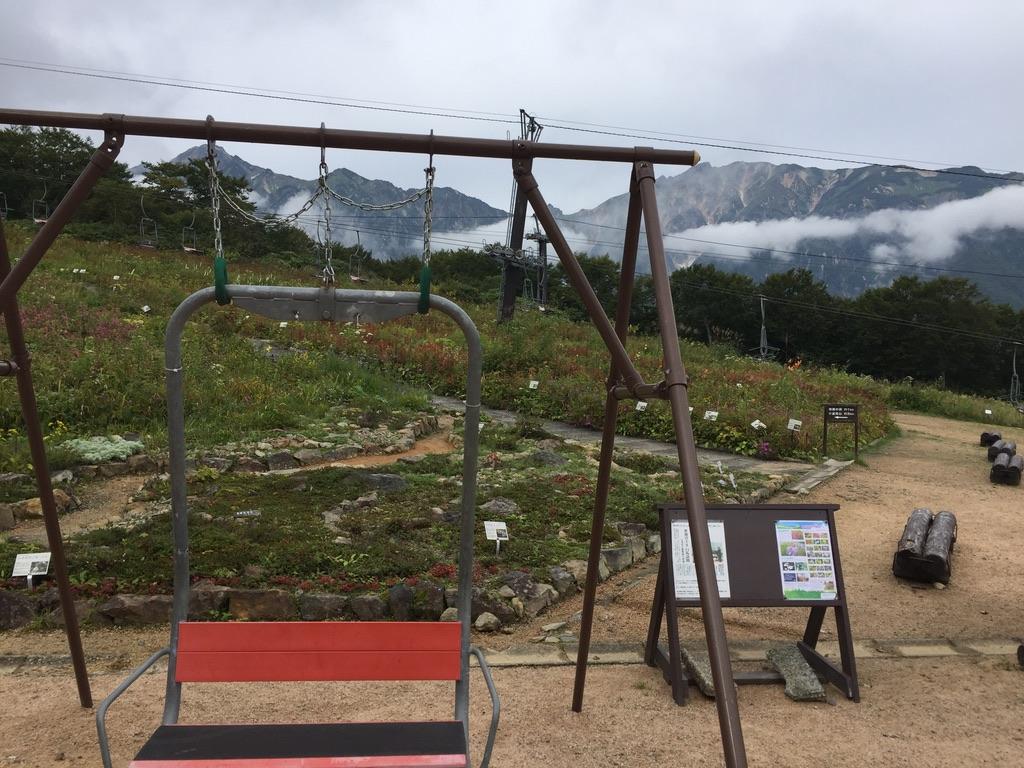 五竜岳・白馬五竜アルプス平の白馬岳が見えるブランコ