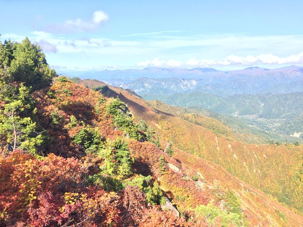 平ヶ岳・平ヶ岳からの帰り道4・紅葉・この稜線を今から帰るんです