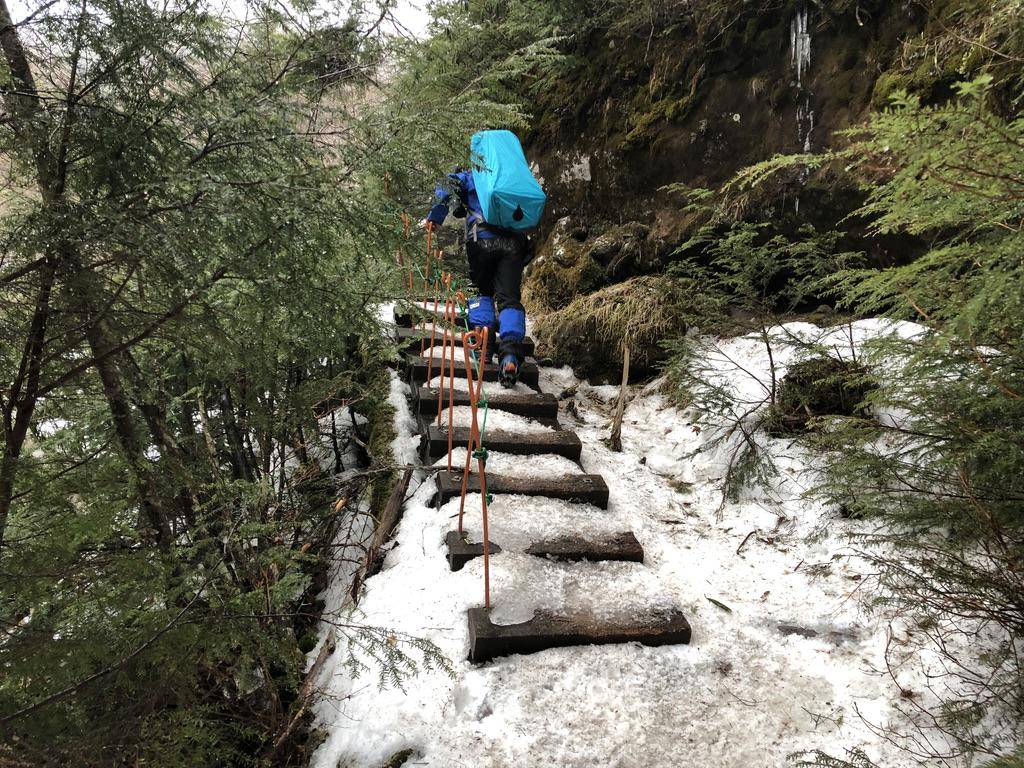 八ヶ岳・北沢・階段上ります