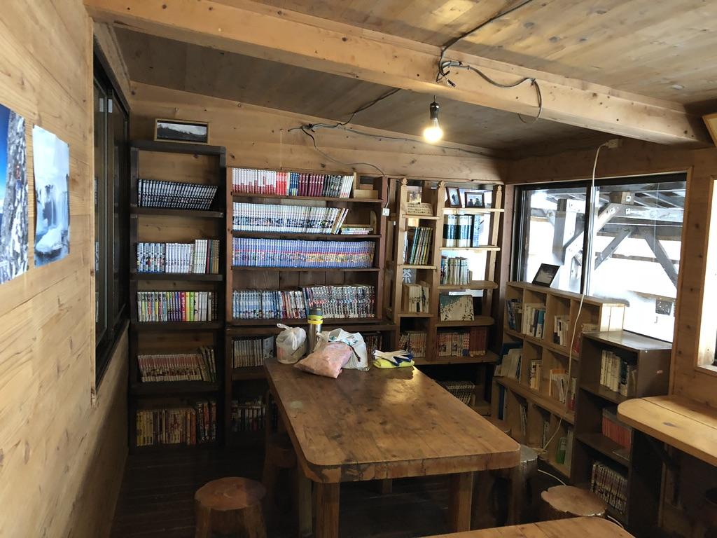 赤岳鉱泉・自炊室の本棚・物色再開