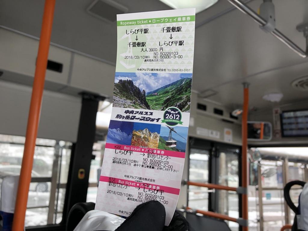 木曽駒ケ岳・しらび平・千畳敷駅の往復チケット