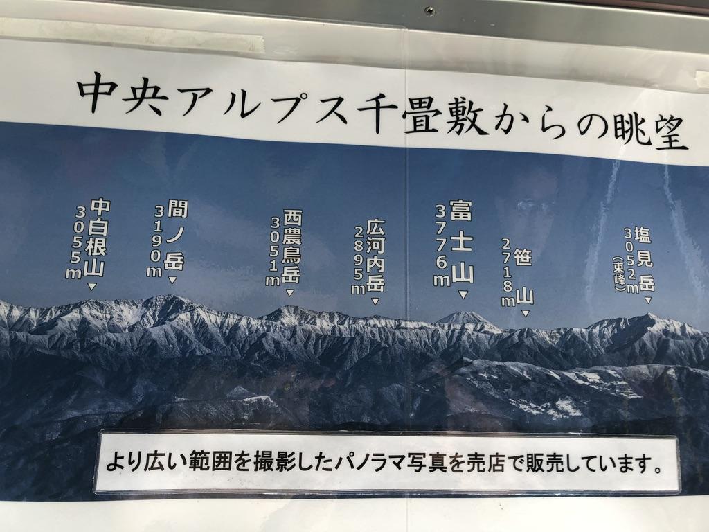 木曽駒ケ岳・間ノ岳、西農鳥岳、富士山、塩見岳など
