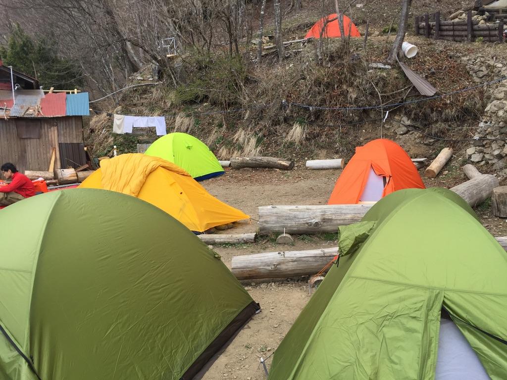 雲取山・七ツ石小屋でテント設営