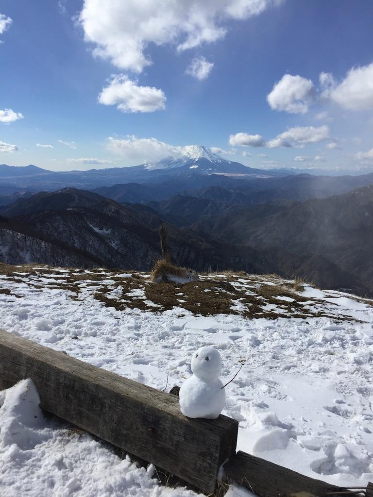 丹沢・塔ノ岳山頂からの富士山と雪だるま
