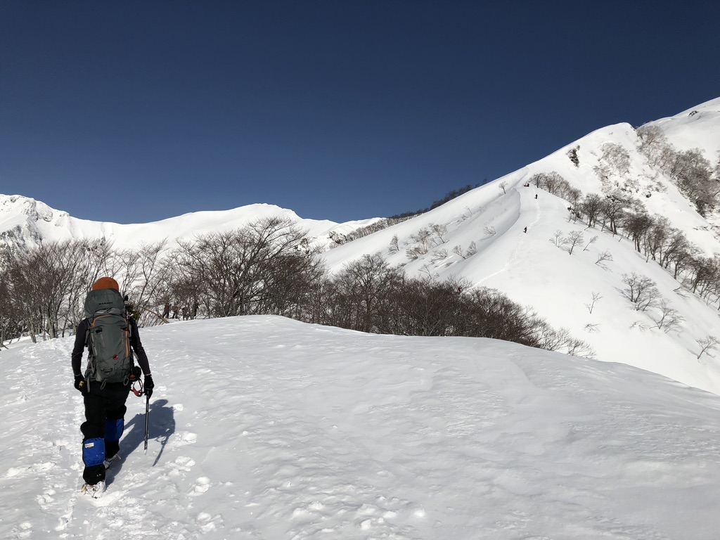 谷川岳・熊穴沢の頭の斜面を抜けて