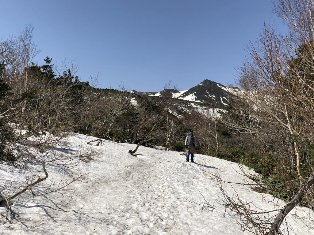 安達太良山・くろがね小屋に向かう道から安達太良山、箒山、矢筈森