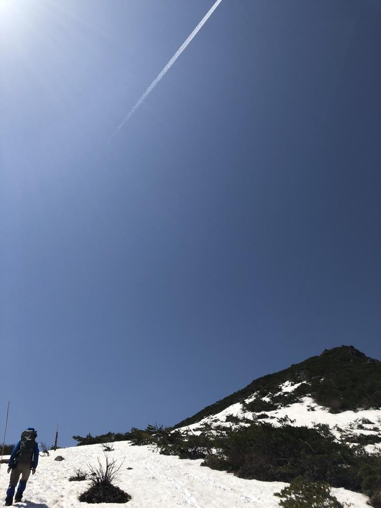 安達太良山・矢筈森と飛行機雲