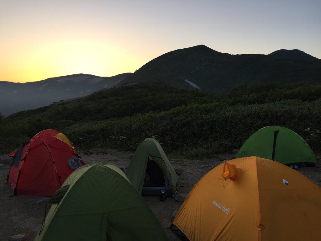 飯豊山・切合小屋の夕日