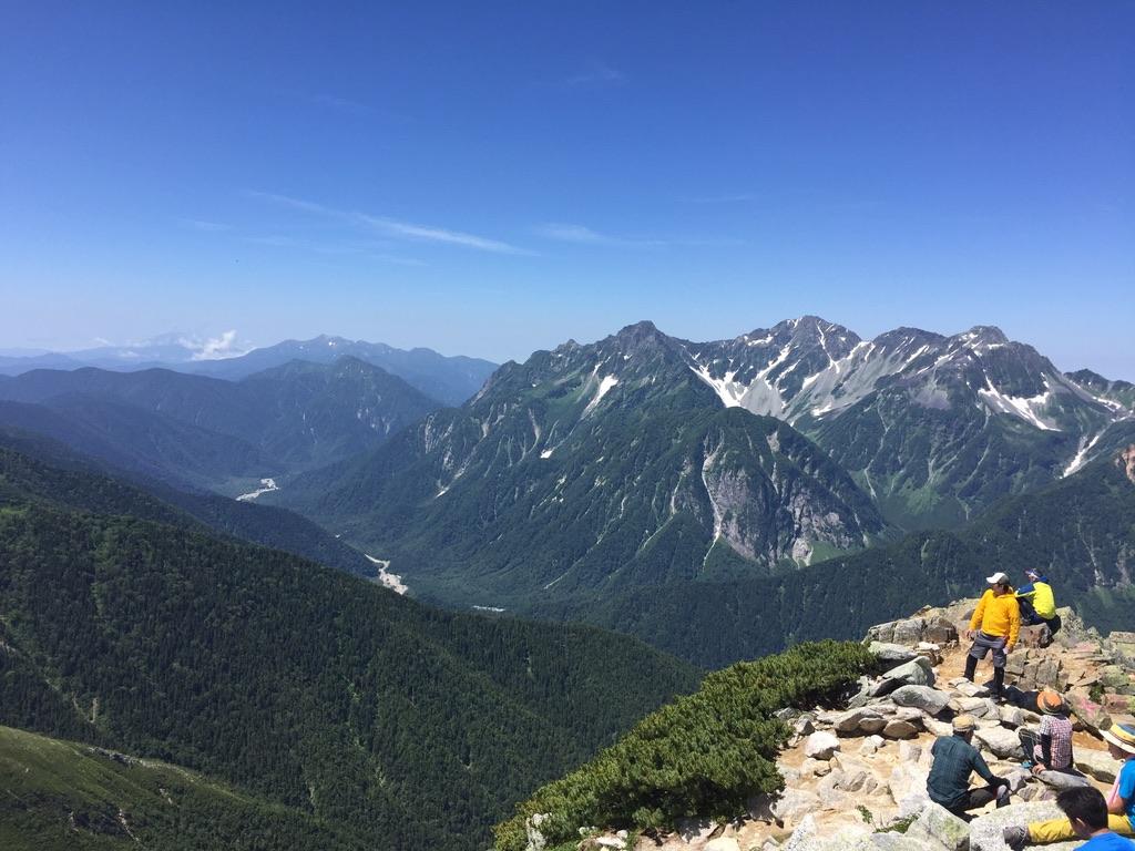 常念岳・常念岳山頂からの穂高連峰、涸沢カールと上高地
