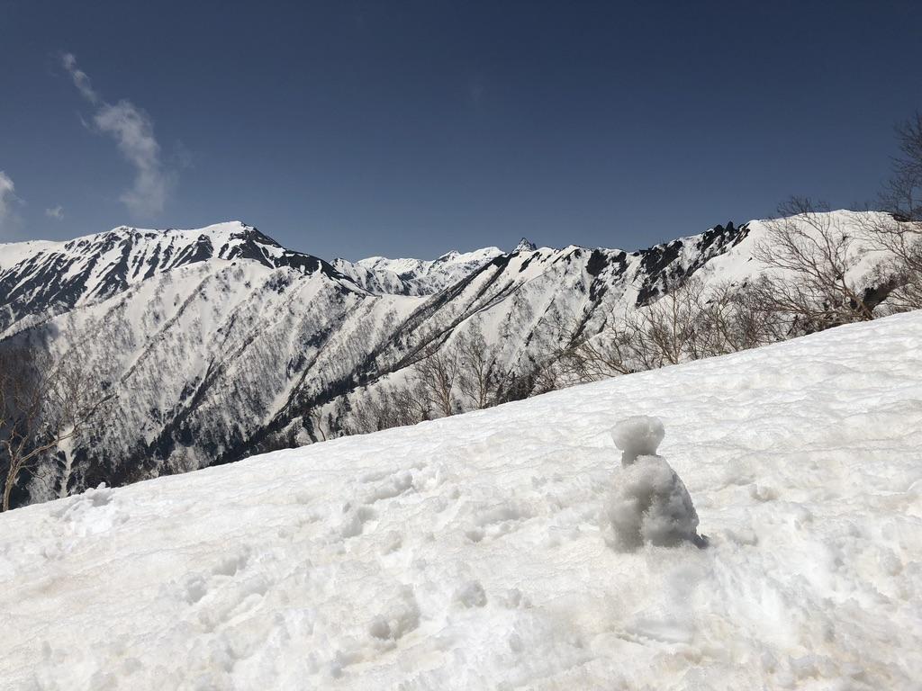 燕岳・合戦尾根・北アルプス三大急登・雪だるまと槍ヶ岳