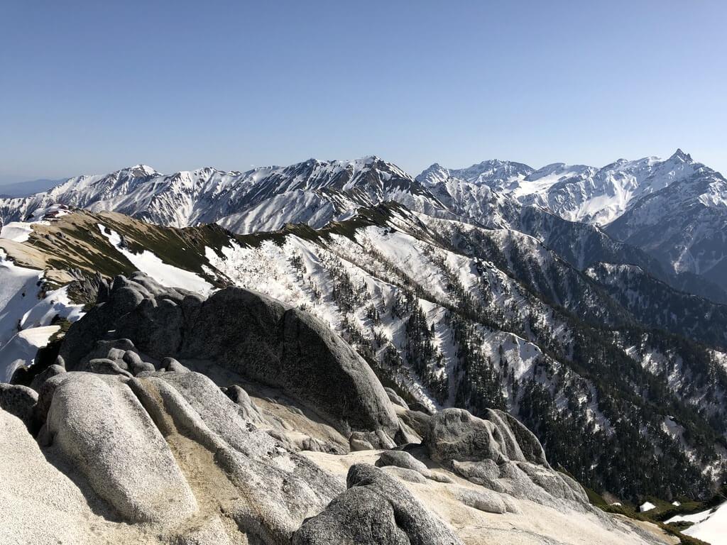 燕岳・燕岳山頂からの表銀座の山々