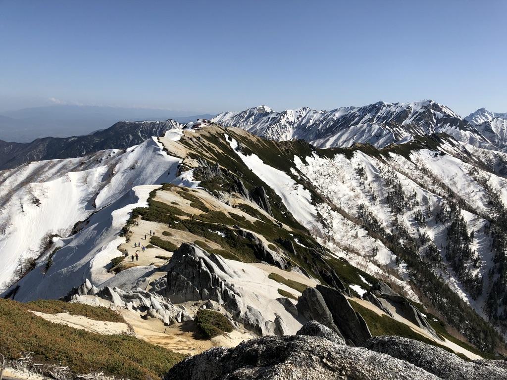 燕岳・山頂から燕山荘に戻りましょう