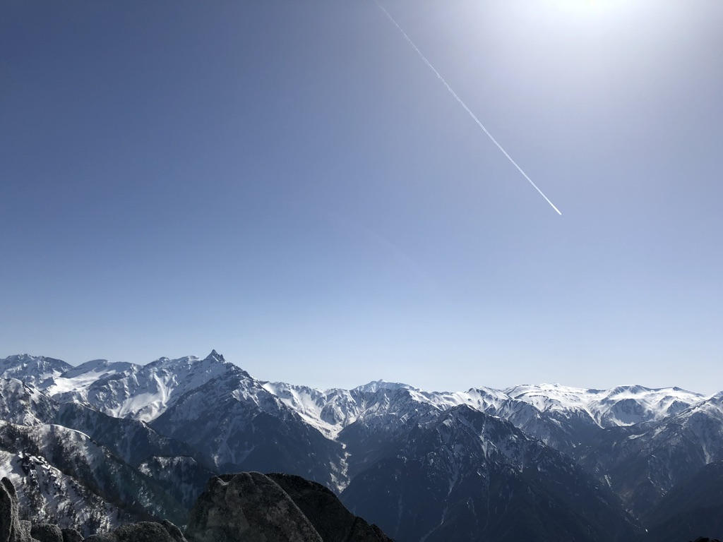 燕岳・槍ヶ岳と裏銀座と飛行機雲