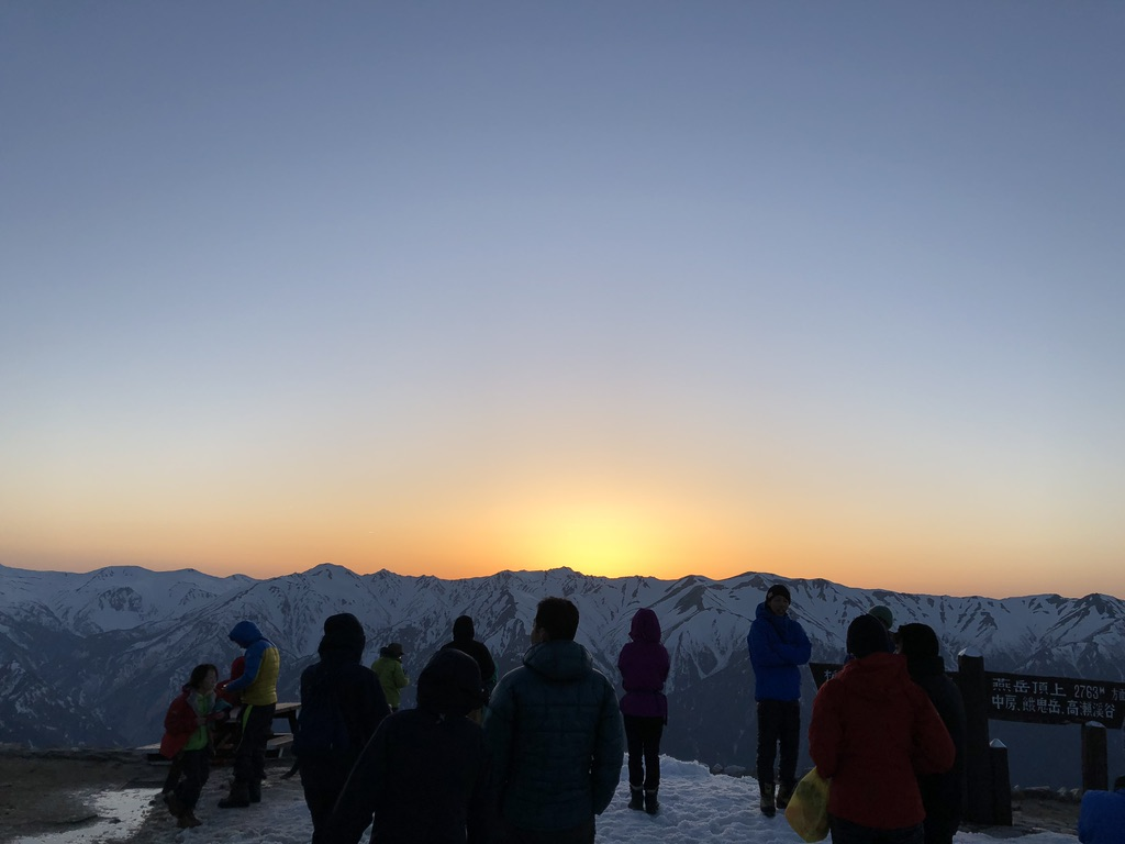 燕岳・西の空、裏銀座の方に、日が沈む