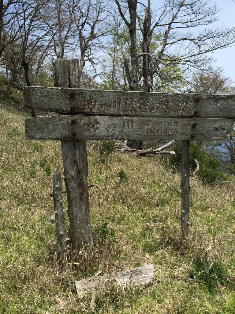 檜洞丸・神の川への分岐