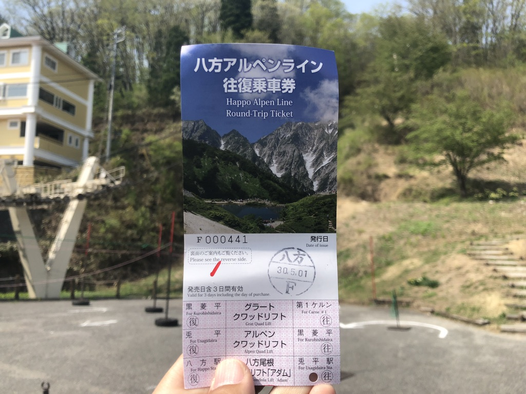 唐松岳・八方アルペンライン往復乗車券