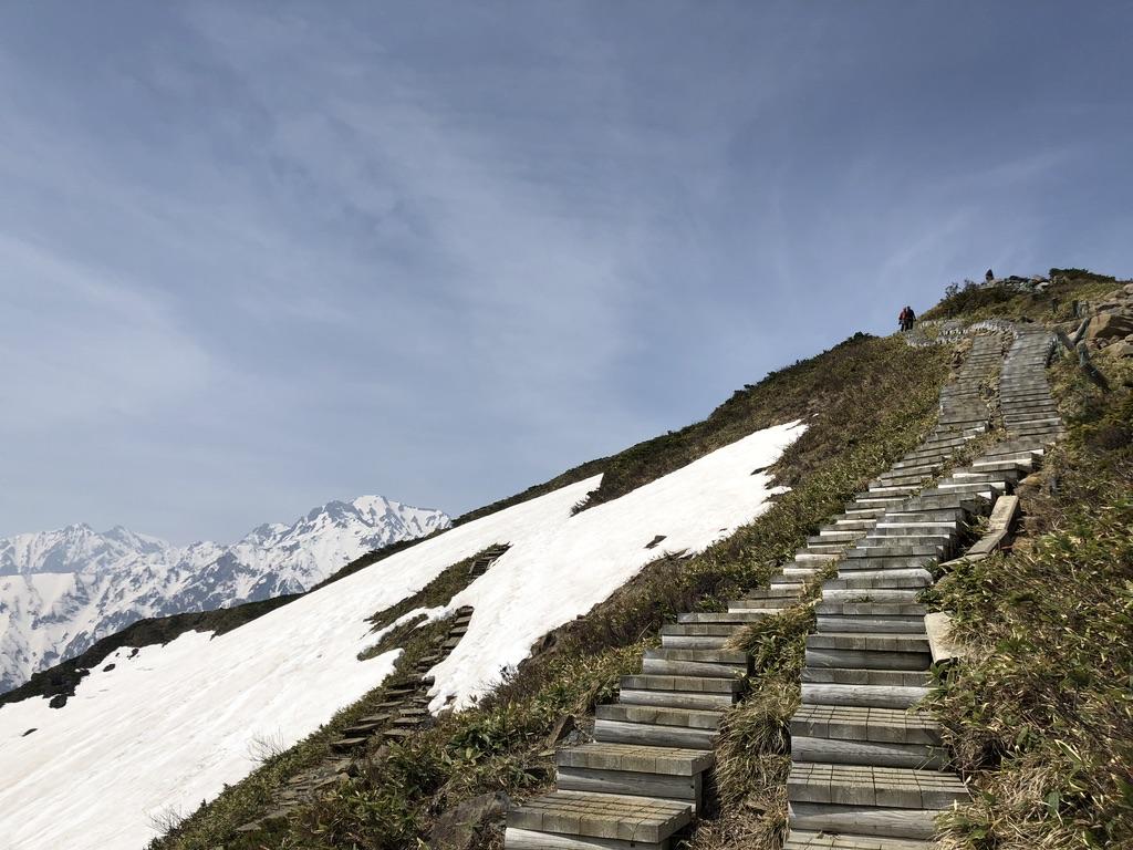 唐松岳・八方尾根・木の階段と五竜岳