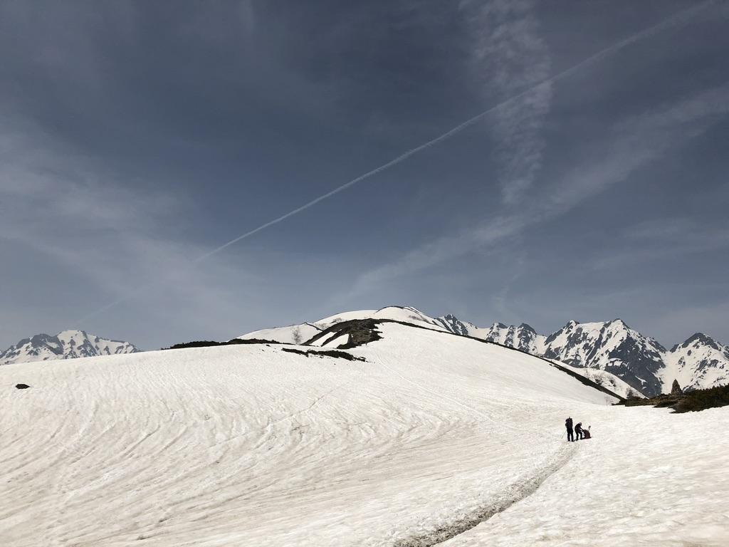 唐松岳・八方尾根・第2ケルン近くの雪道