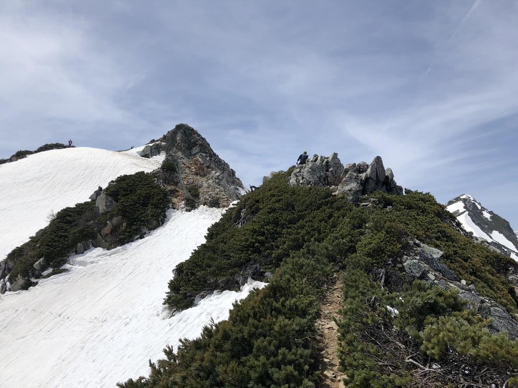 唐松岳・八方尾根・岩の稜線