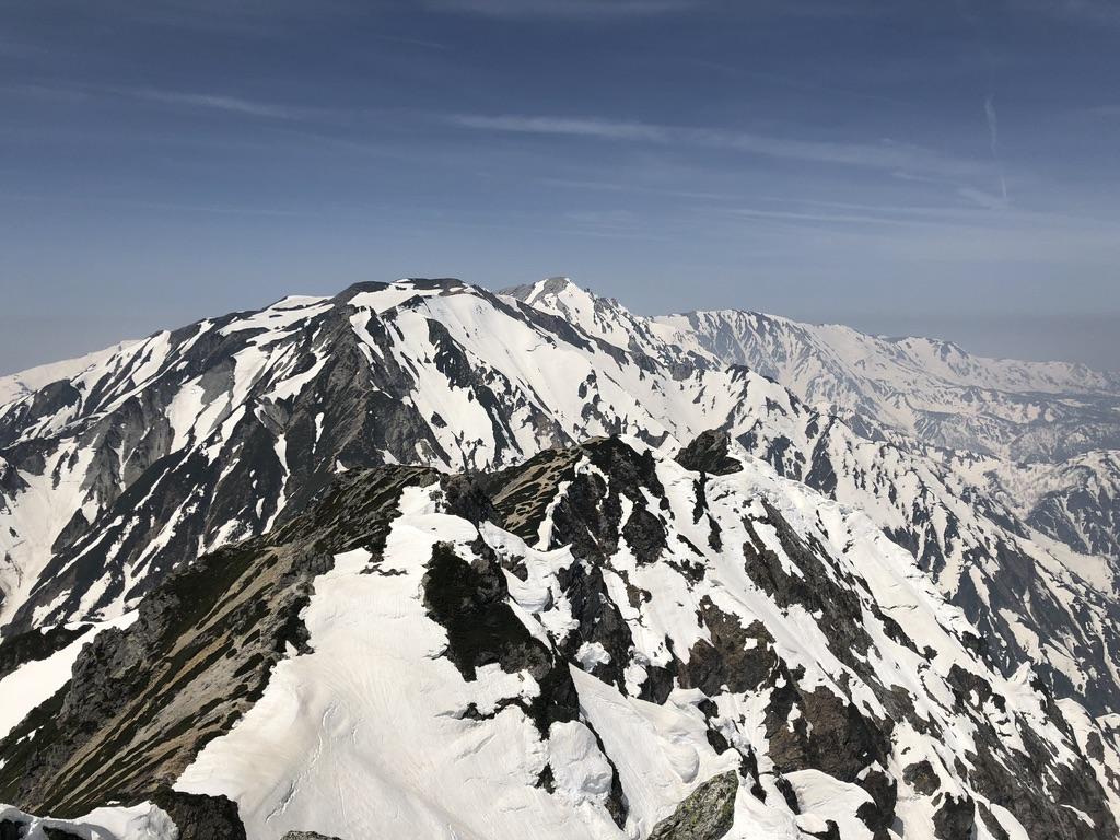唐松岳・唐松岳山頂からの不帰嶮と白馬連峰