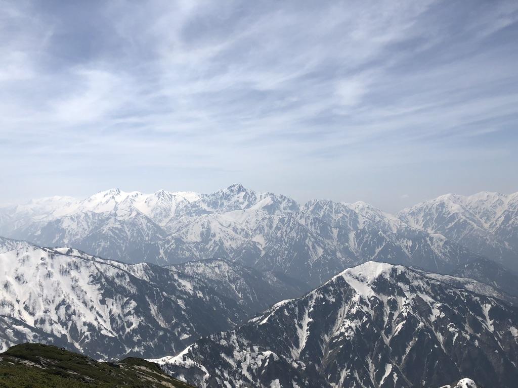 唐松岳・唐松岳山頂からの立山、真砂岳、別山、剱岳・アップ