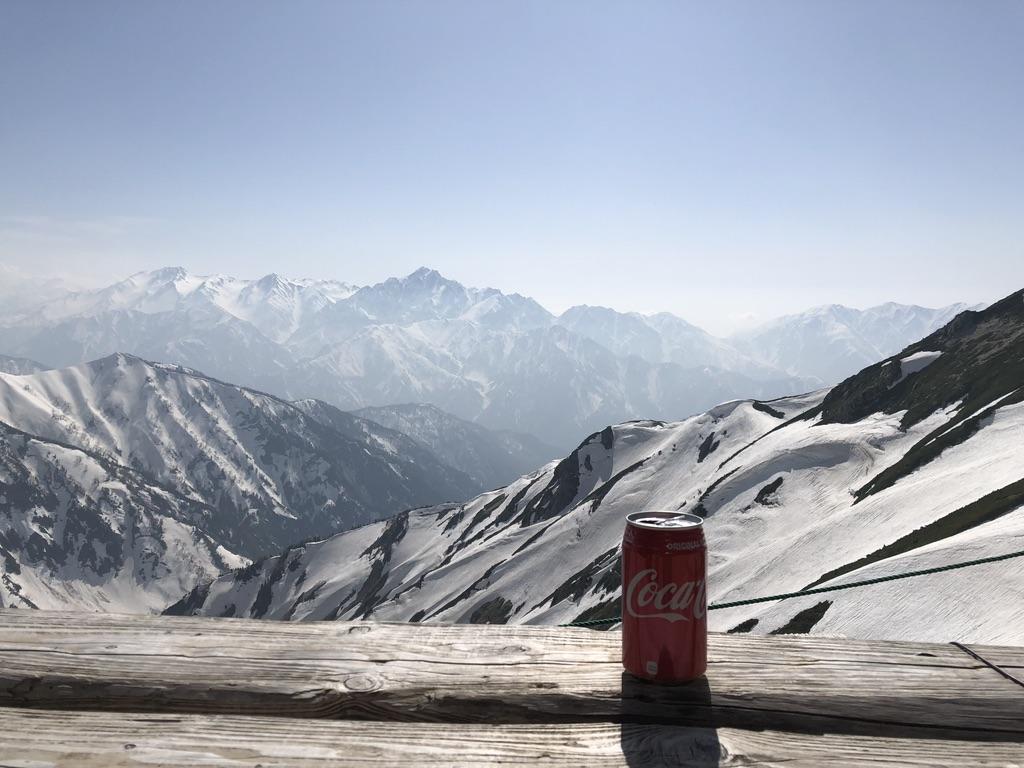 唐松岳・唐松岳頂上山荘からの立山、真砂岳、別山、剱岳
