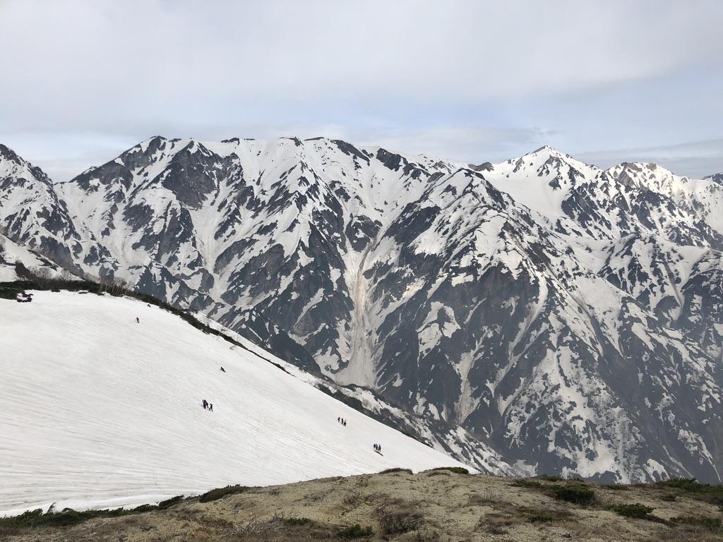 唐松岳・八方尾根・第3ケルン近くの登山道?から登ってくる人たち、スゴイ