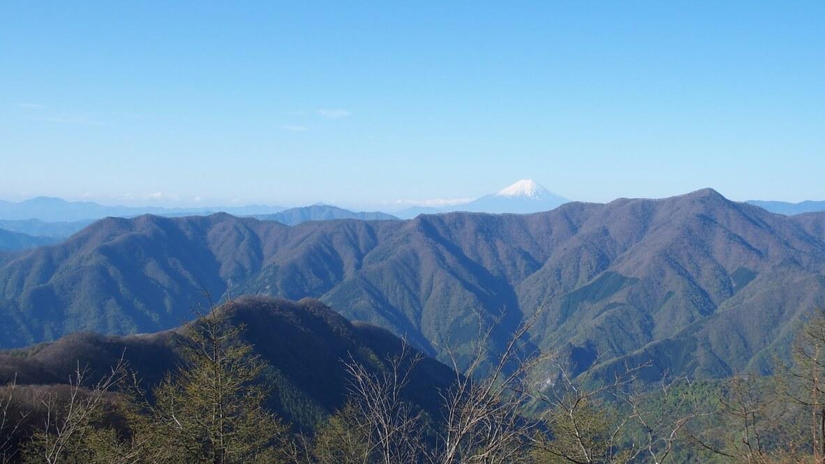 川苔山・雲取山・天目山(三ツドッケ)山頂からの六ツ石山、石尾根、鷹ノ巣山、富士山