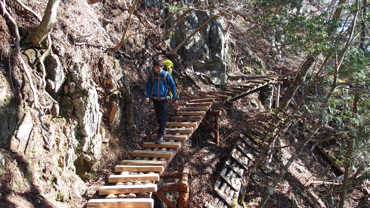 川苔山・雲取山・長沢背稜・木の橋を反対側から