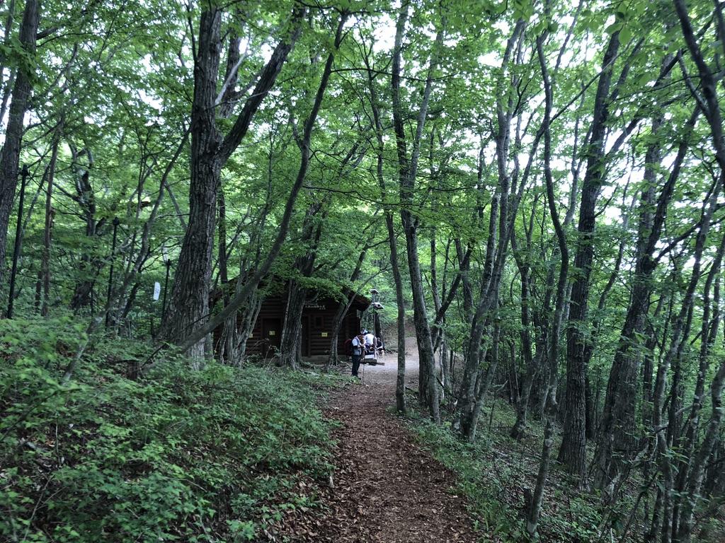 三頭山・三頭山避難小屋が見えてきた
