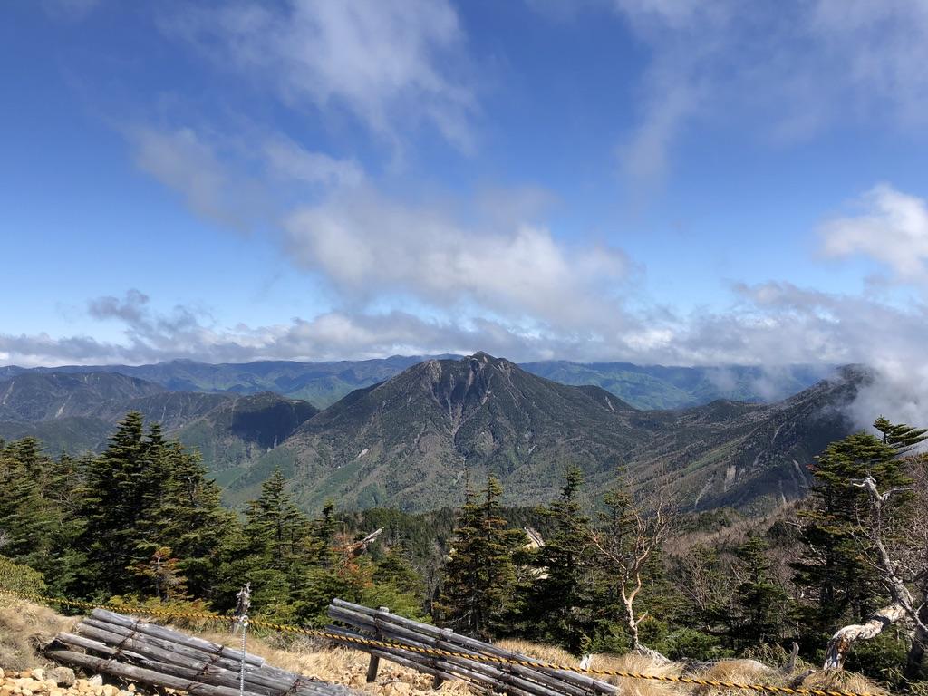 日光男体山・男体山山頂からの太郎山、会津駒ヶ岳