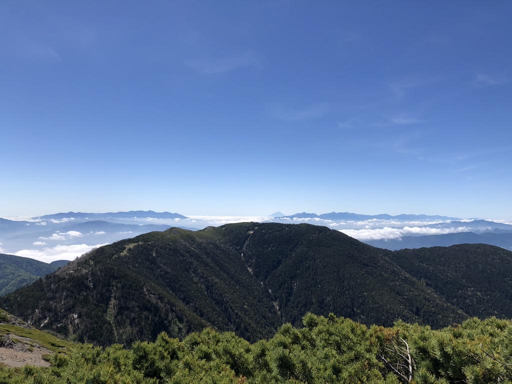 蝶ヶ岳・常念岳・蝶ヶ岳山頂からの大滝山