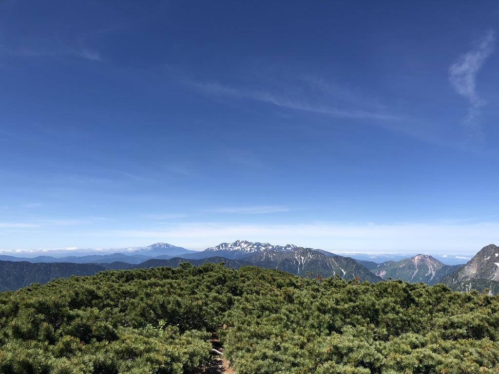 蝶ヶ岳・常念岳・蝶ヶ岳山頂からの御嶽山、乗鞍岳、霞沢岳、焼岳