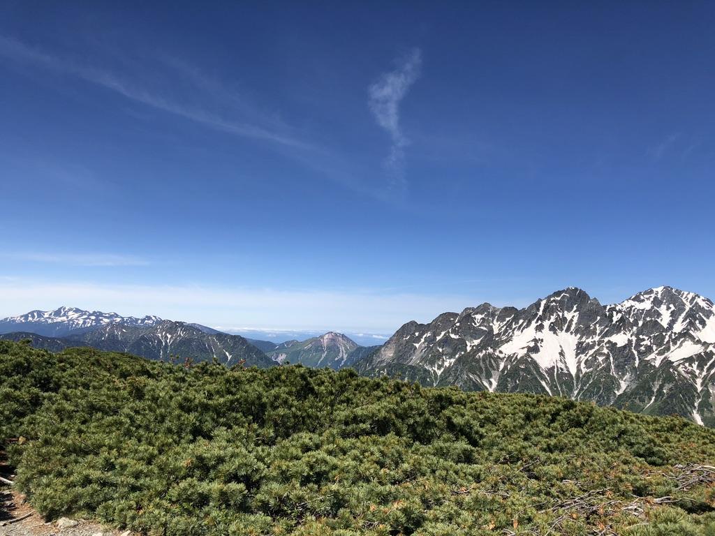 蝶ヶ岳・常念岳・蝶ヶ岳山頂からの乗鞍岳、霞沢岳、焼岳に、前穂高岳に奥穂高岳