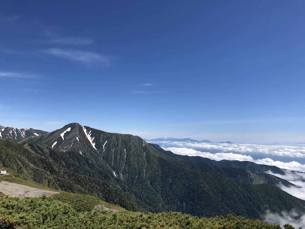 蝶ヶ岳・常念岳・蝶ヶ岳山頂からの常念岳、前常念岳