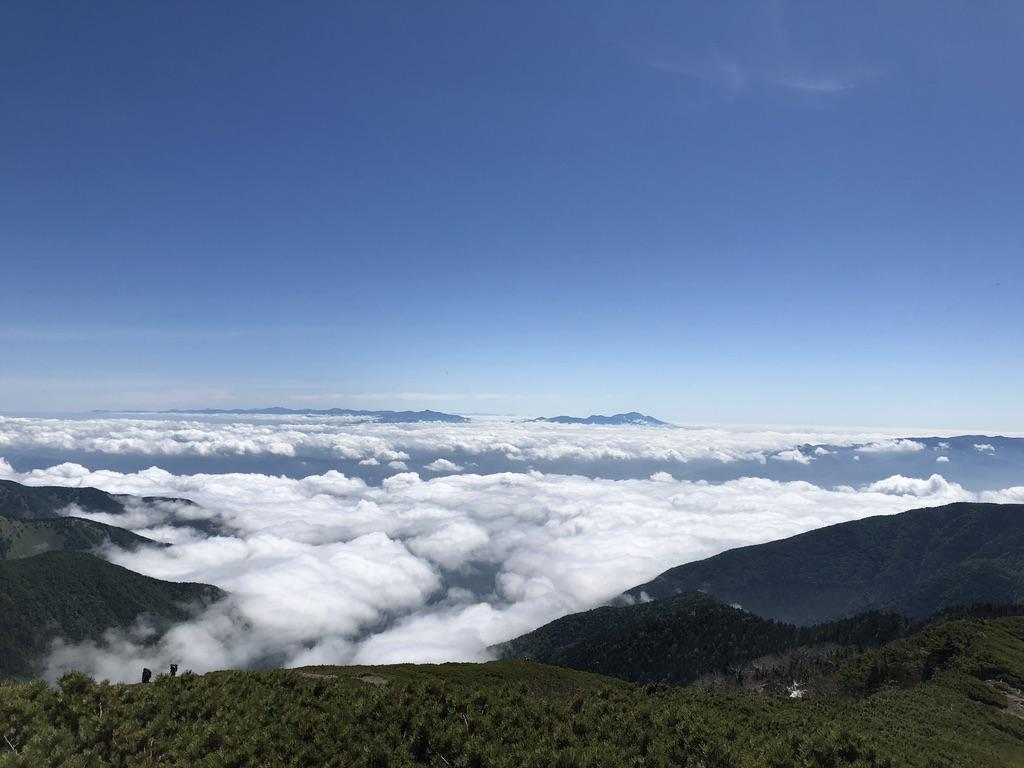 蝶ヶ岳・常念岳・蝶ヶ岳山頂からの美ヶ原、八ヶ岳