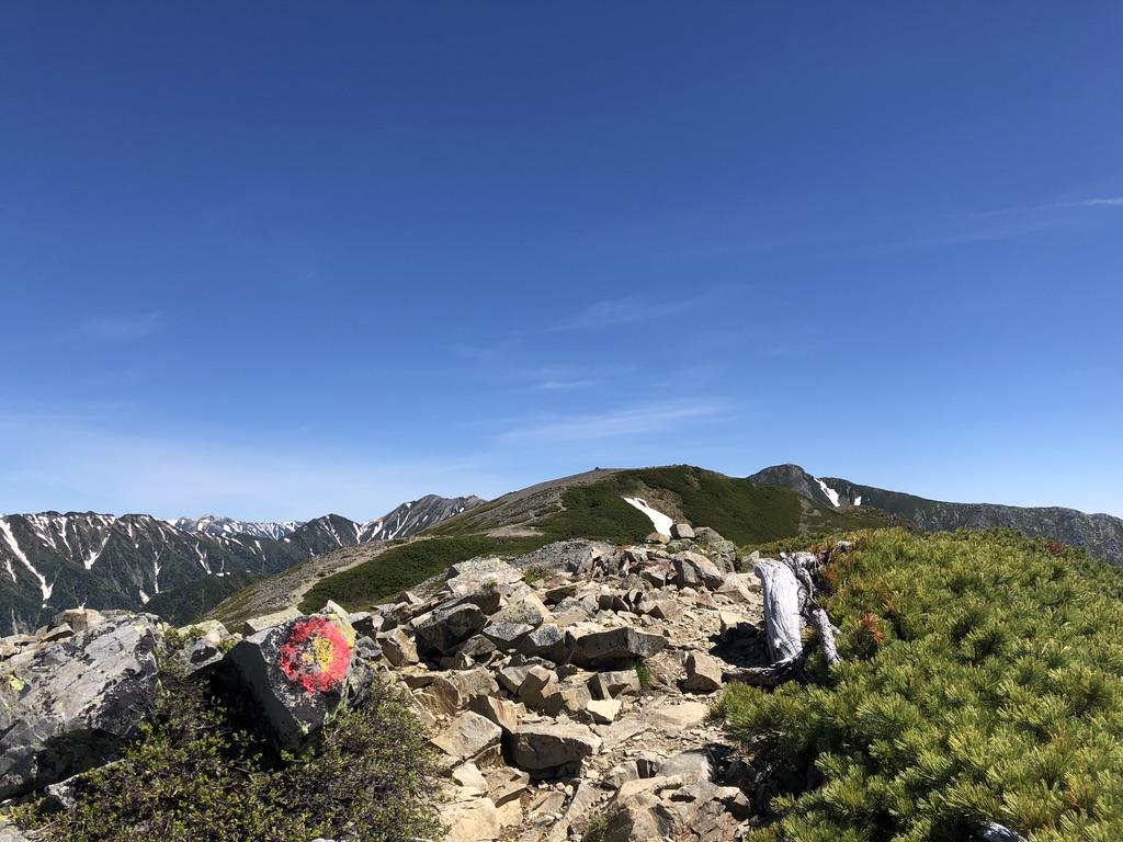 蝶ヶ岳・常念岳・稜線の先のとがっているのが蝶槍かしら?