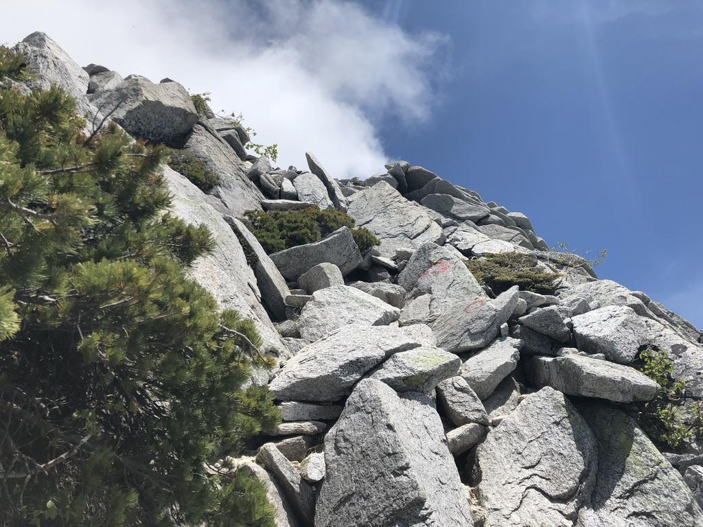 蝶ヶ岳・常念岳・常念岳アタック、岩登りがはげしくなってきました