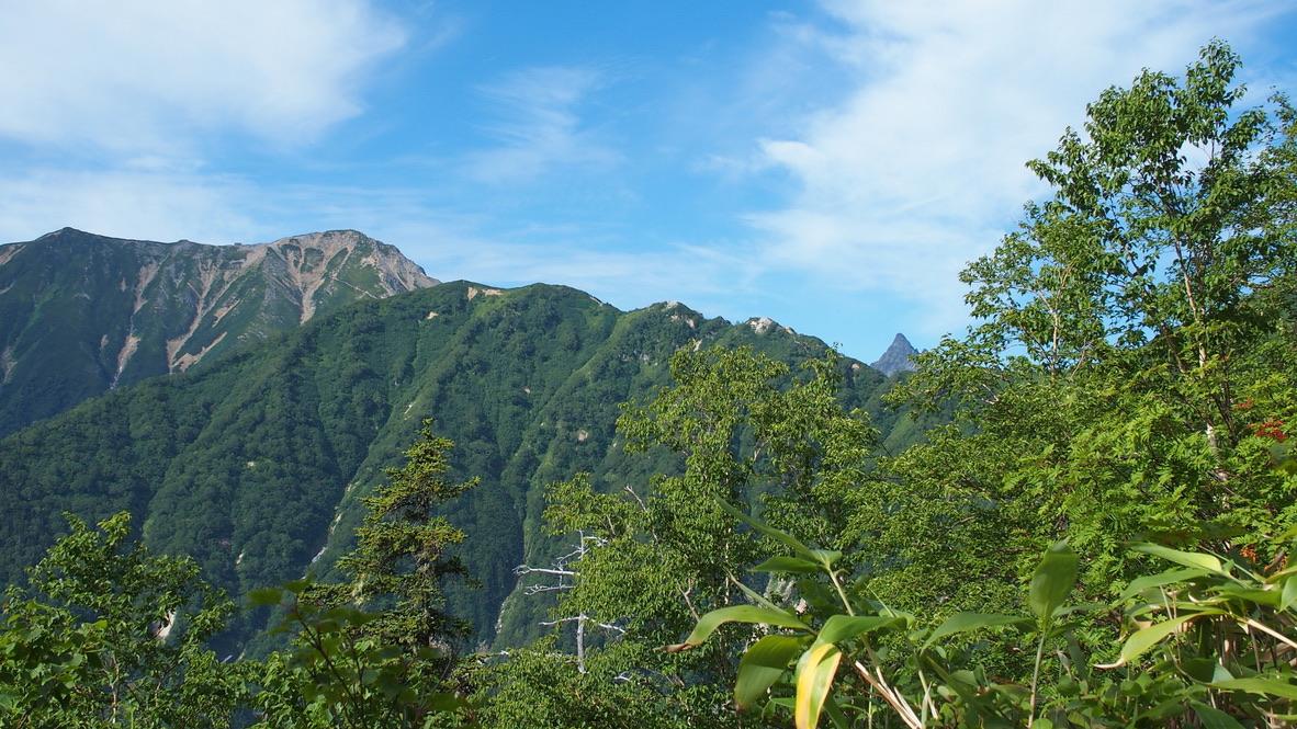 燕岳・合戦尾根から望む表尾根の山々と槍ヶ岳
