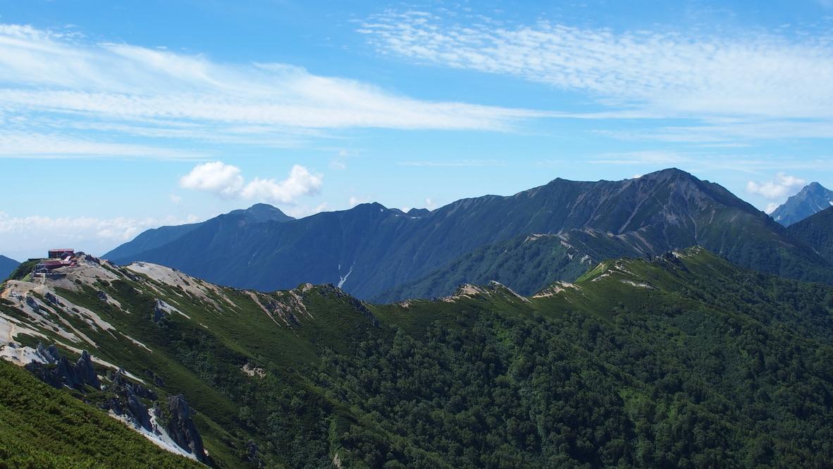 燕岳・表銀座の山々(常念岳、東天井岳、中天井岳、大天井岳、前穂高岳)