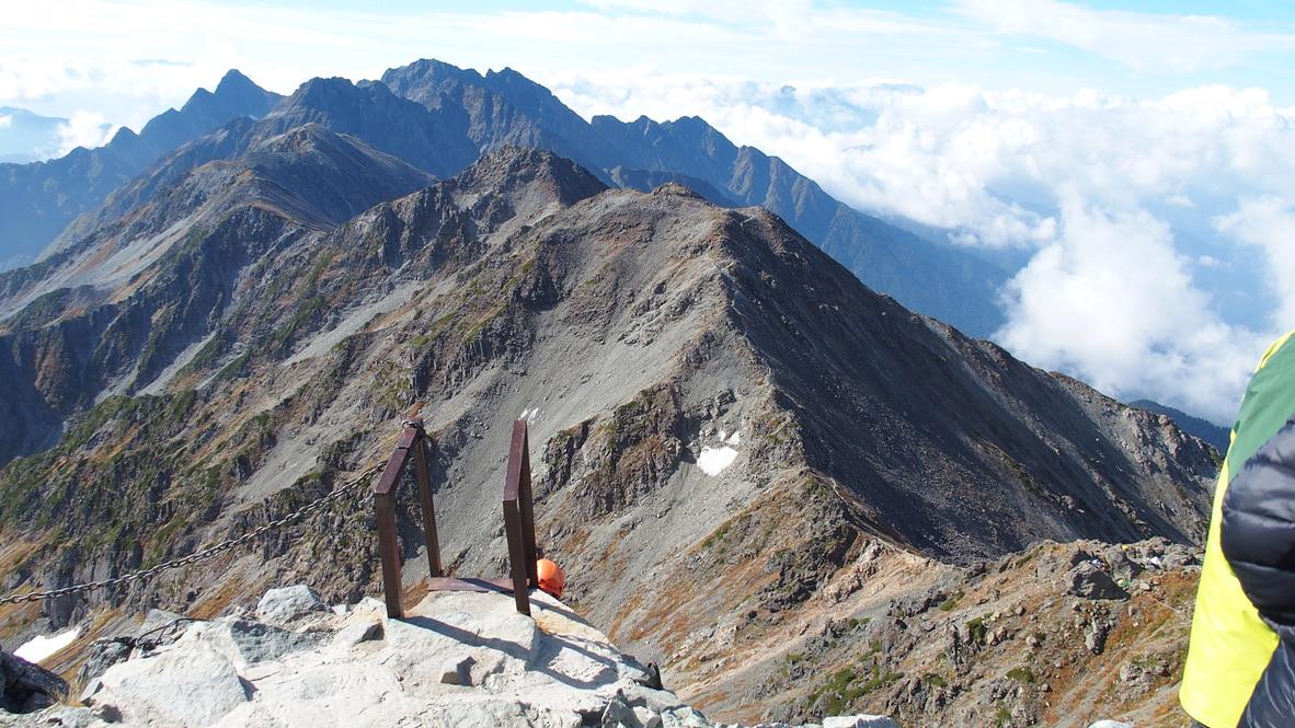 槍ヶ岳・涸沢・槍ヶ岳山頂からの南西の穂高連峰