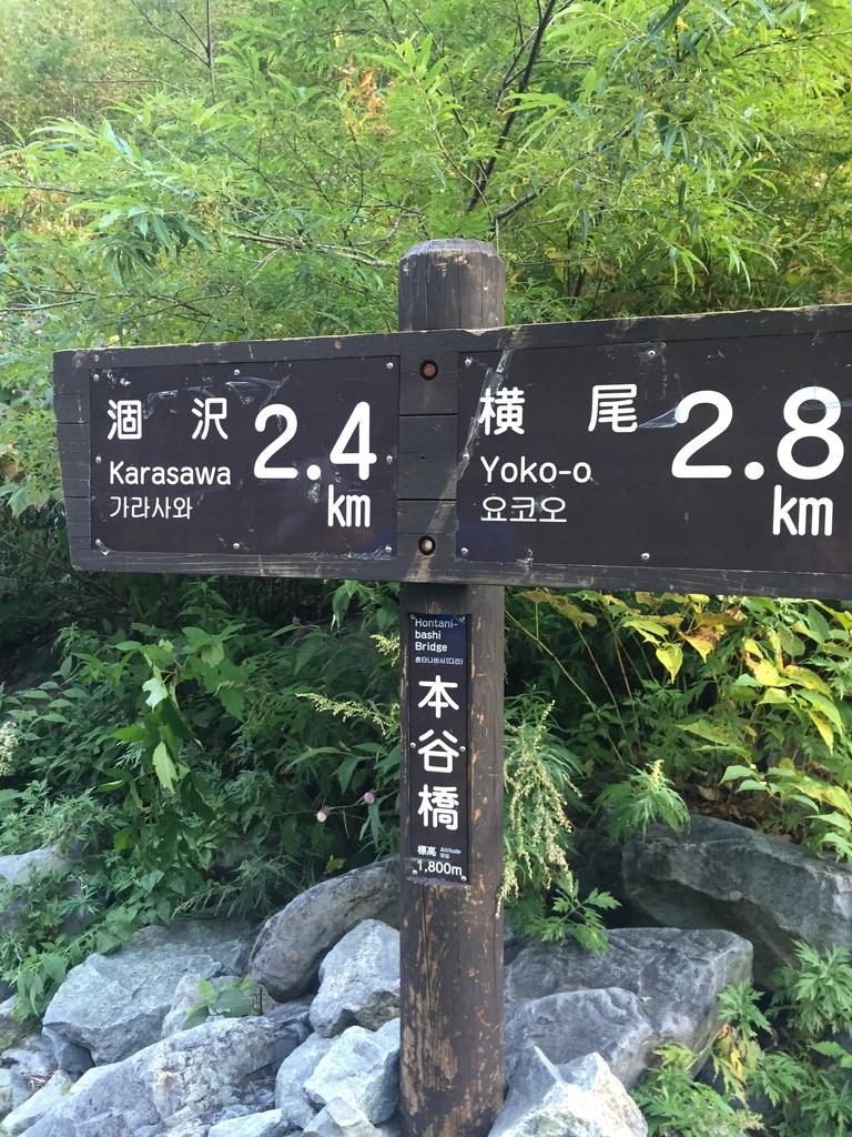 槍ヶ岳・涸沢・本谷橋(ほんだにばし)の標識