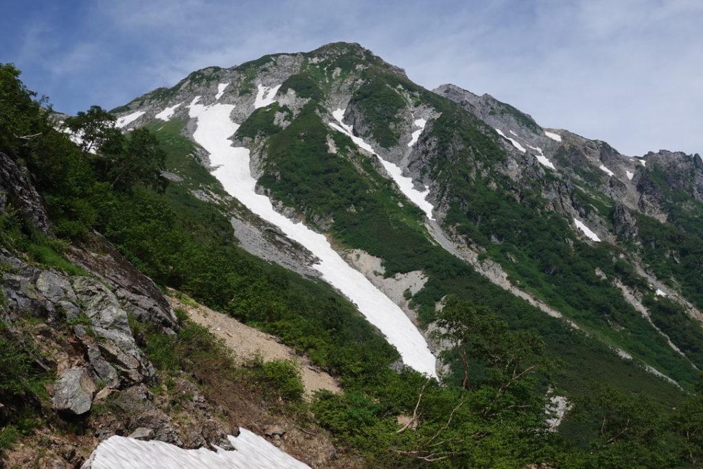 針ノ木岳・蓮華岳・針ノ木雪渓から見る針ノ木岳