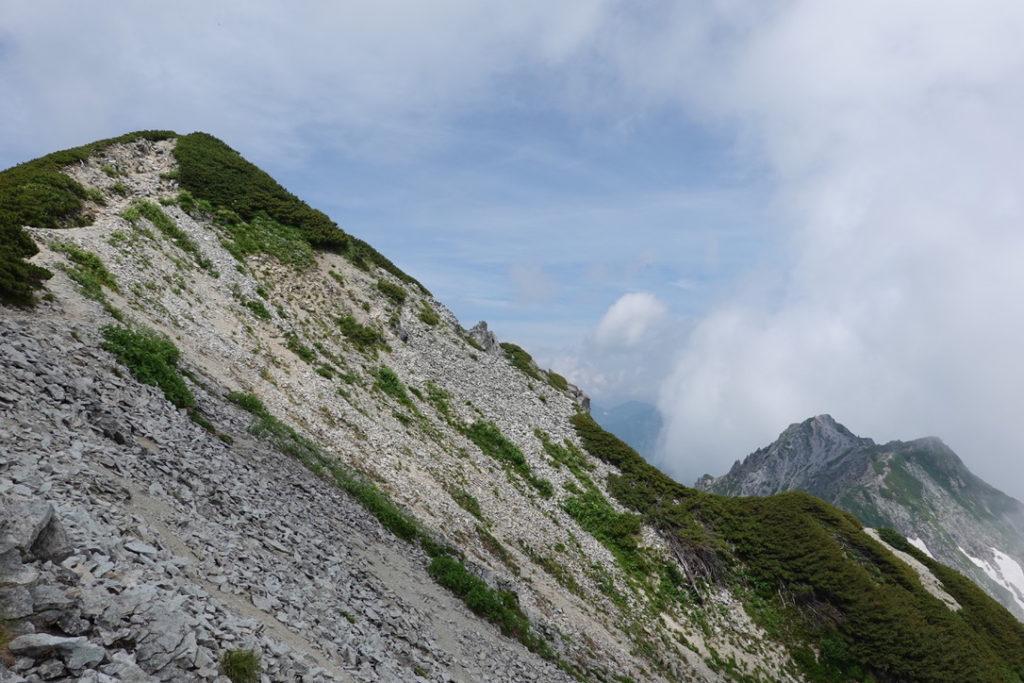 針ノ木岳・蓮華岳・針ノ木岳(左)とスバリ岳(右)