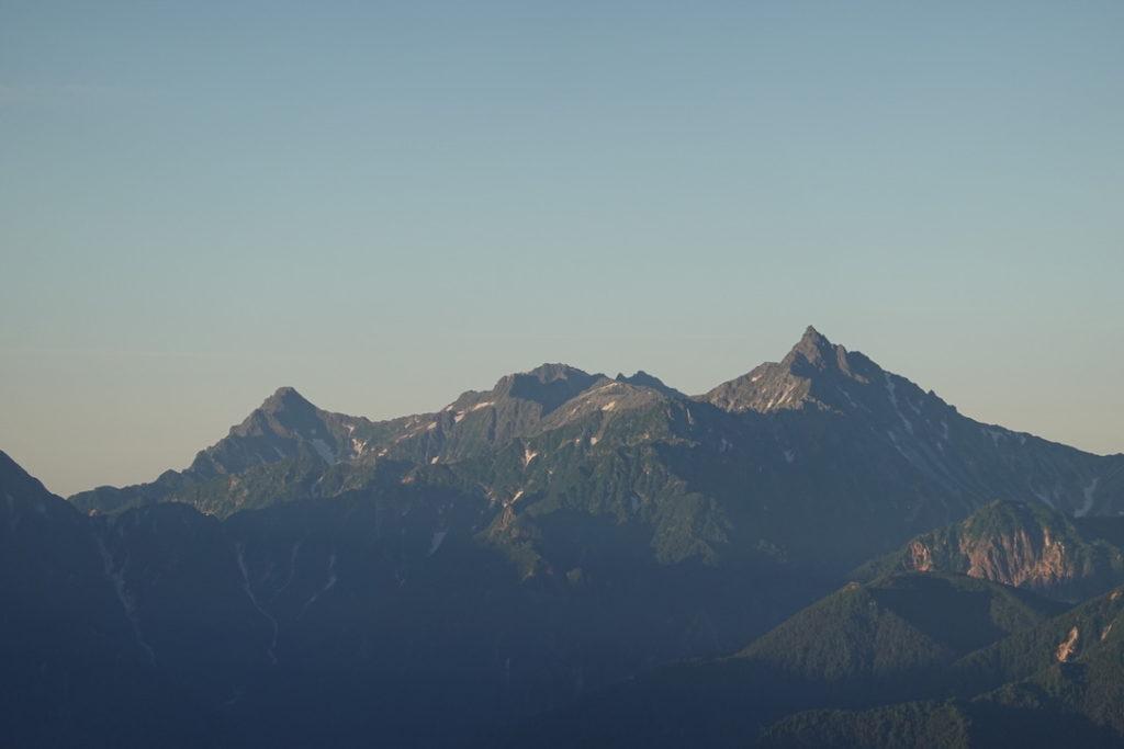 針ノ木岳・蓮華岳・針ノ木小屋から見た穂高連峰と槍ヶ岳